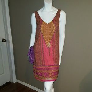 Multicolor Tribal Print Dress w/Necklace